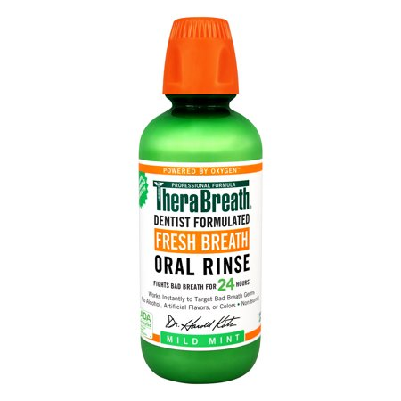 TheraBreath Fresh Breath Oral Rinse, Mild Mint, 16.0 FL - Oral Rinse Refreshing Clean Mint