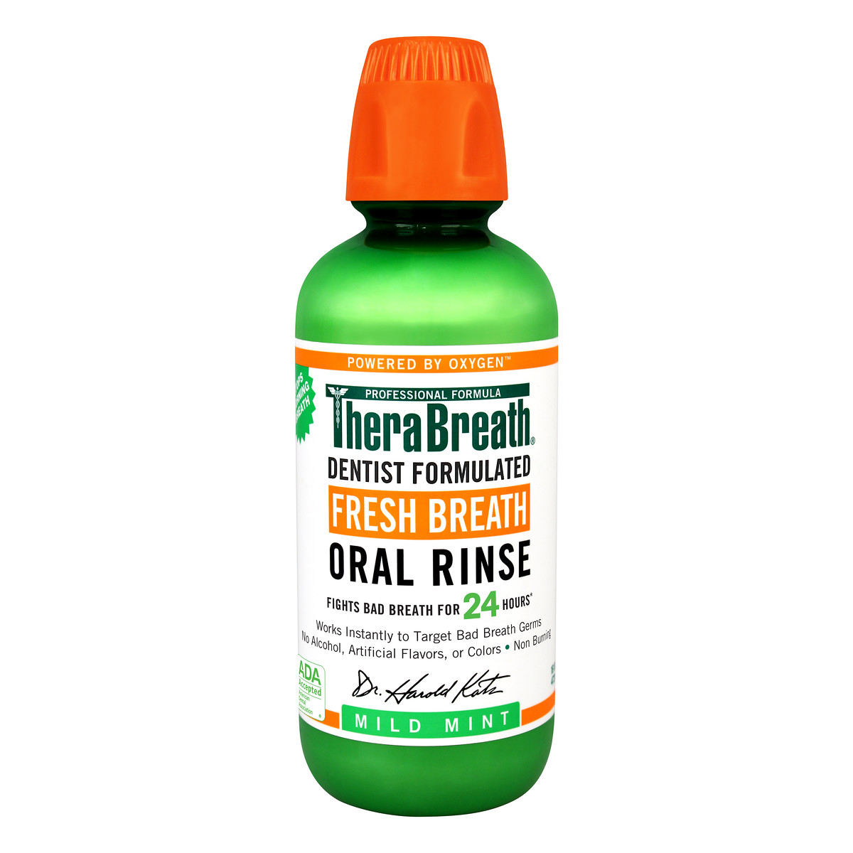 TheraBreath Fresh Breath Oral Rinse, Mild Mint, 16.0 FL OZ