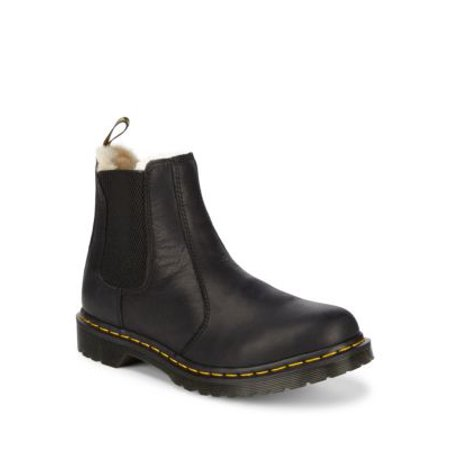 Leather Faux-Fur Lined Chelsea Boots