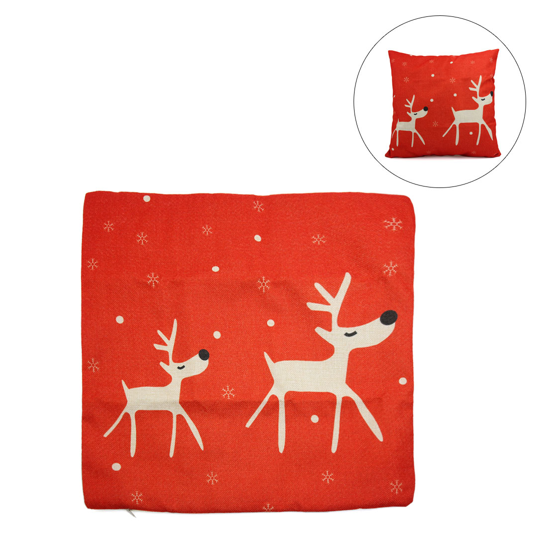 Square Shape Linen Two Deer Printed Sofa Car Throw Cushion Pillow Cover - image 3 of 3