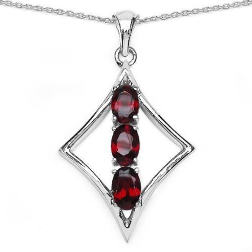 Malaika  Sterling Silver 1 4/5ct Garnet Necklace