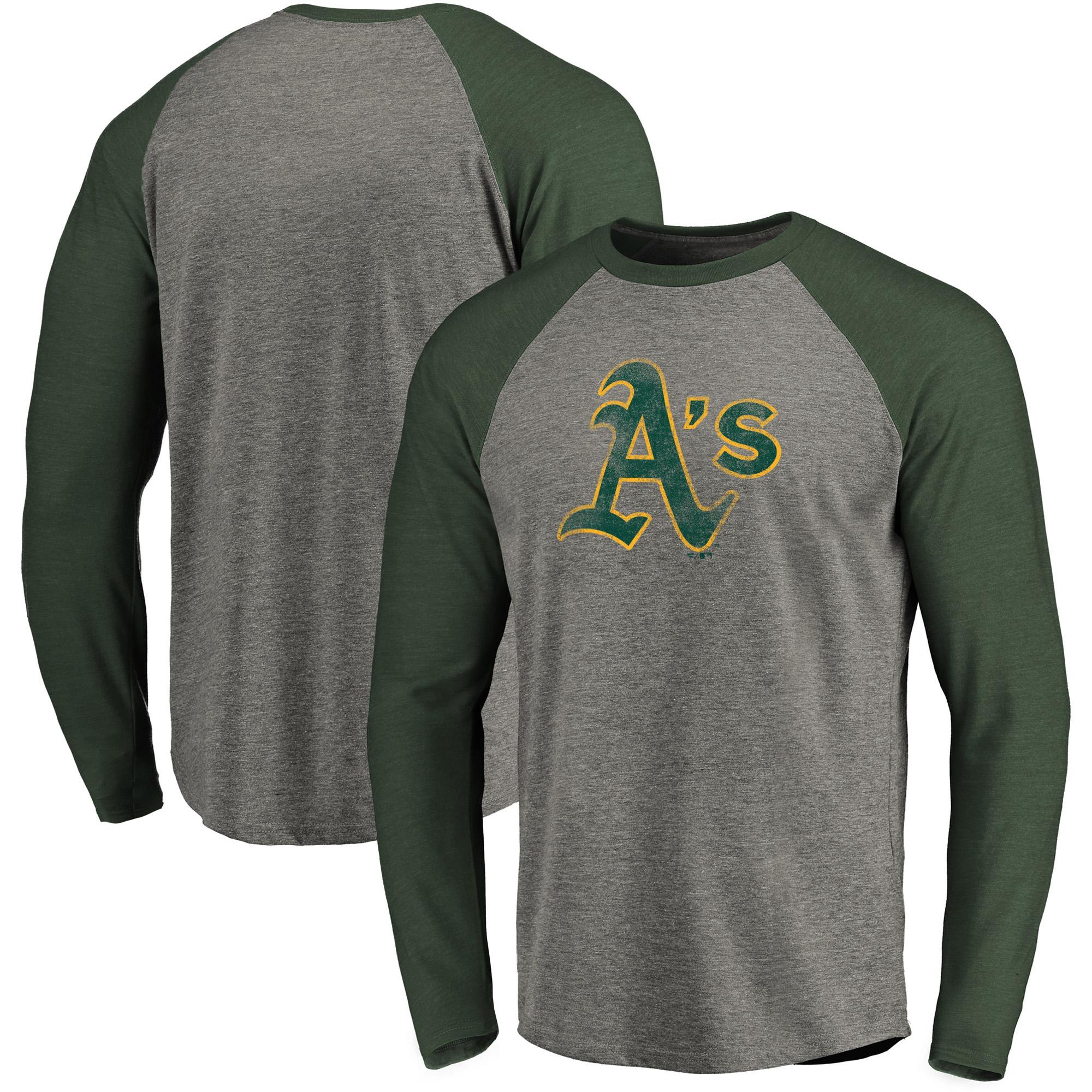 Oakland Athletics Fanatics Branded Distressed Team Raglan Tri-Blend Long Sleeve T-Shirt - Heathered Gray