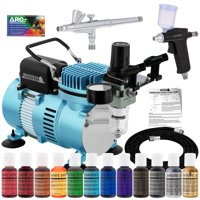 Super Deluxe Master Airbrush Cake Decorating Airbrushing Kit, 2 Airbrushes, 12 Chefmaster Food Colors, Air Compressor