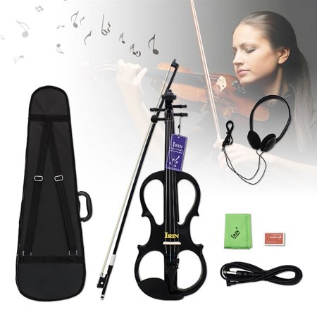 IRIN 4/4 Electric Violin Maple Fiddle Stringed Instrument with Bow Hard Case Tuner Headphones Rosin Audio Cable Early Education For Kids Birthday Christmas Gifts (Black, Wine Red) ()