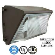 J&H LED 100-Watt Integrated LED Bronze Outdoor Industrial-Grade Wall Pack Light