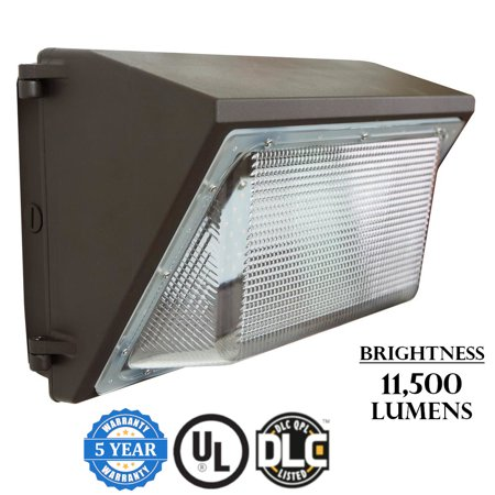 - J&H LED 100W Wallpack 100 Watt Bronze Outdoor Integrated Industrial-Grade LED Wall Pack Light