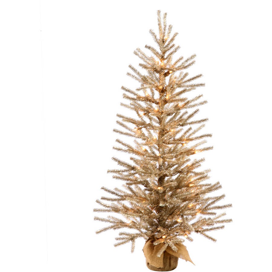 "Vickerman 36"" Mocha Artificial Christmas Tree with 50 Warm White LED Lights"