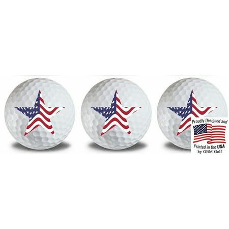 American Flag Golf Balls Design#5 3 Pack by GBM Golf