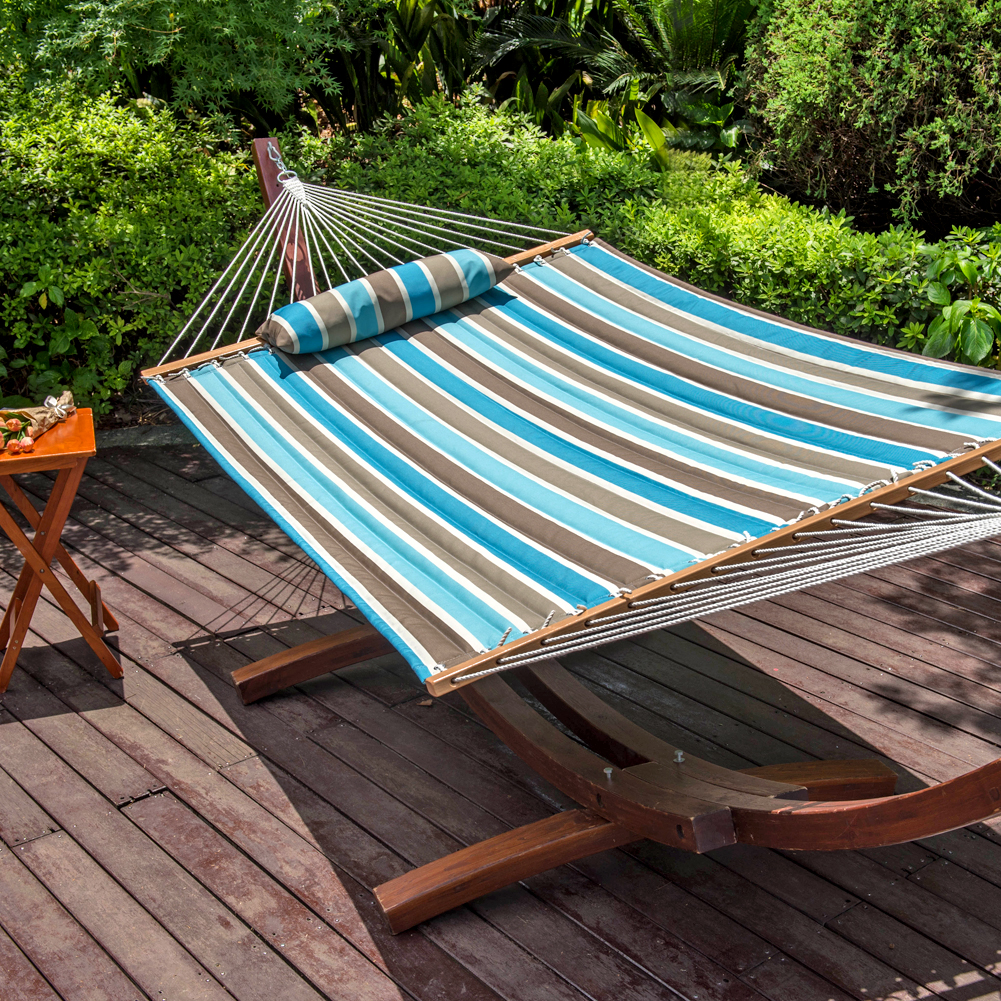 lazydaze hammocks all weather olefin fabric 55in double hammock with spread bar for two person