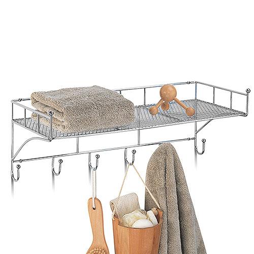 Neu Home Chrome Hanging Shelf with Hooks