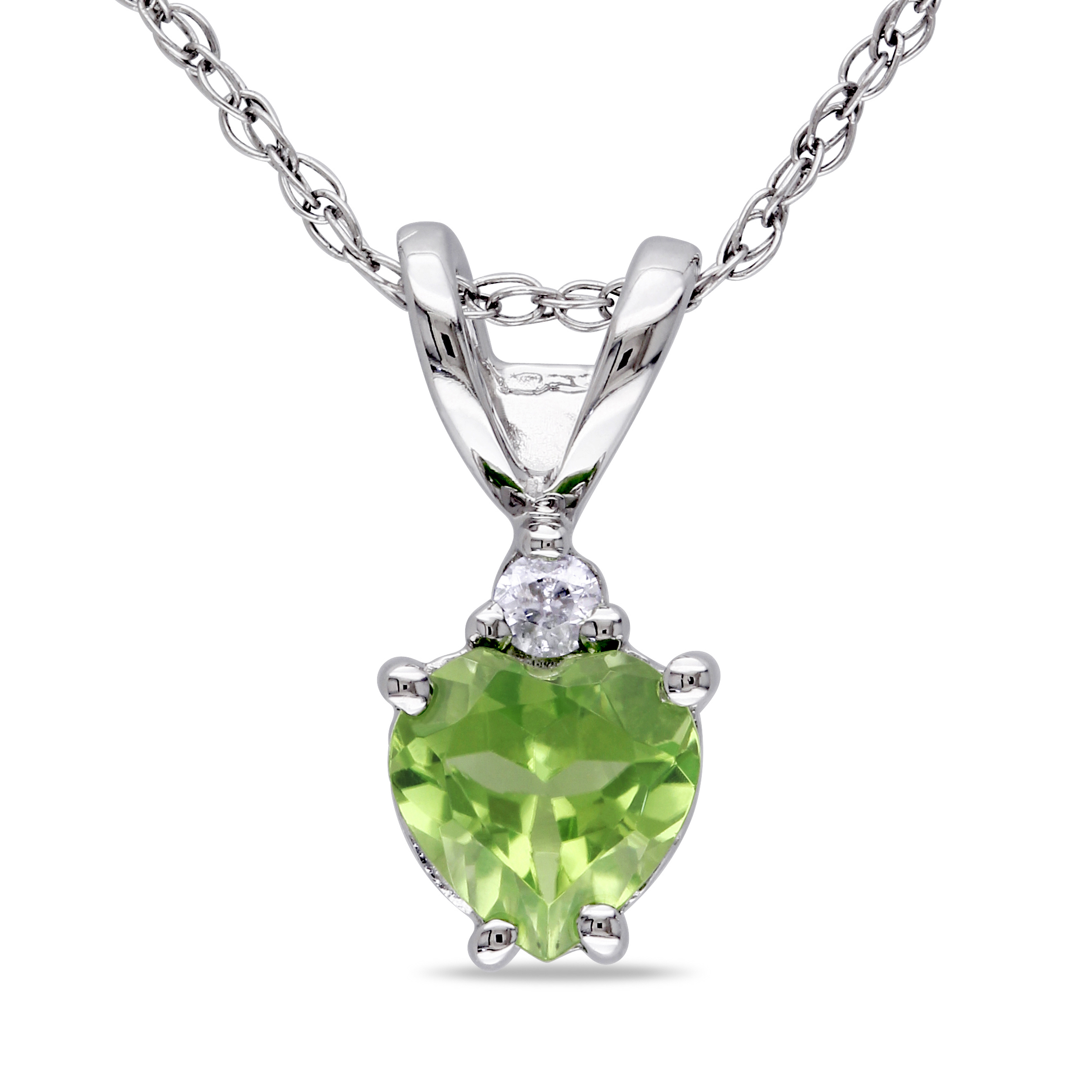 "Tangelo 1 2 Carat T.G.W. Peridot Heart and Diamond Accent 10kt White Gold Pendant, 17"" by Delmar Manufacturing LLC"