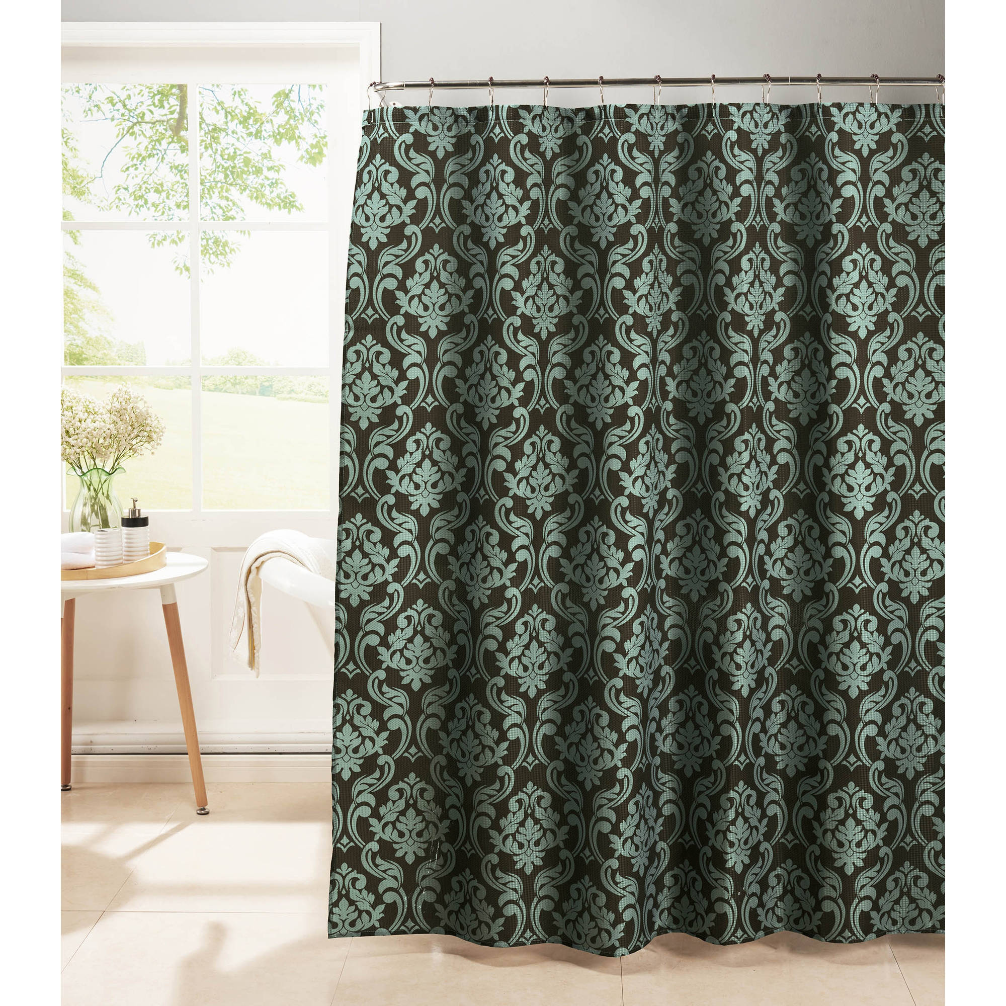 Chain Damask Diamond Weave Textured Shower Curtain with Metal Roller Hooks