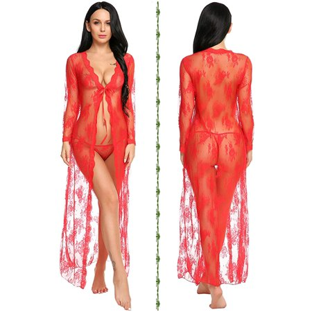 Lingerie for Women Sexy Long Lace Dress Sheer Gown See Through Kimono Robe - image 5 of 6