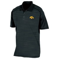 Men's Russell Athletic Black Iowa Hawkeyes Color Block Polo