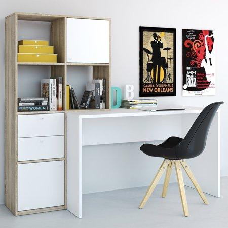 Computer Desk With Bookcase - Wakefield Desk with 6 Shelf Bookcase
