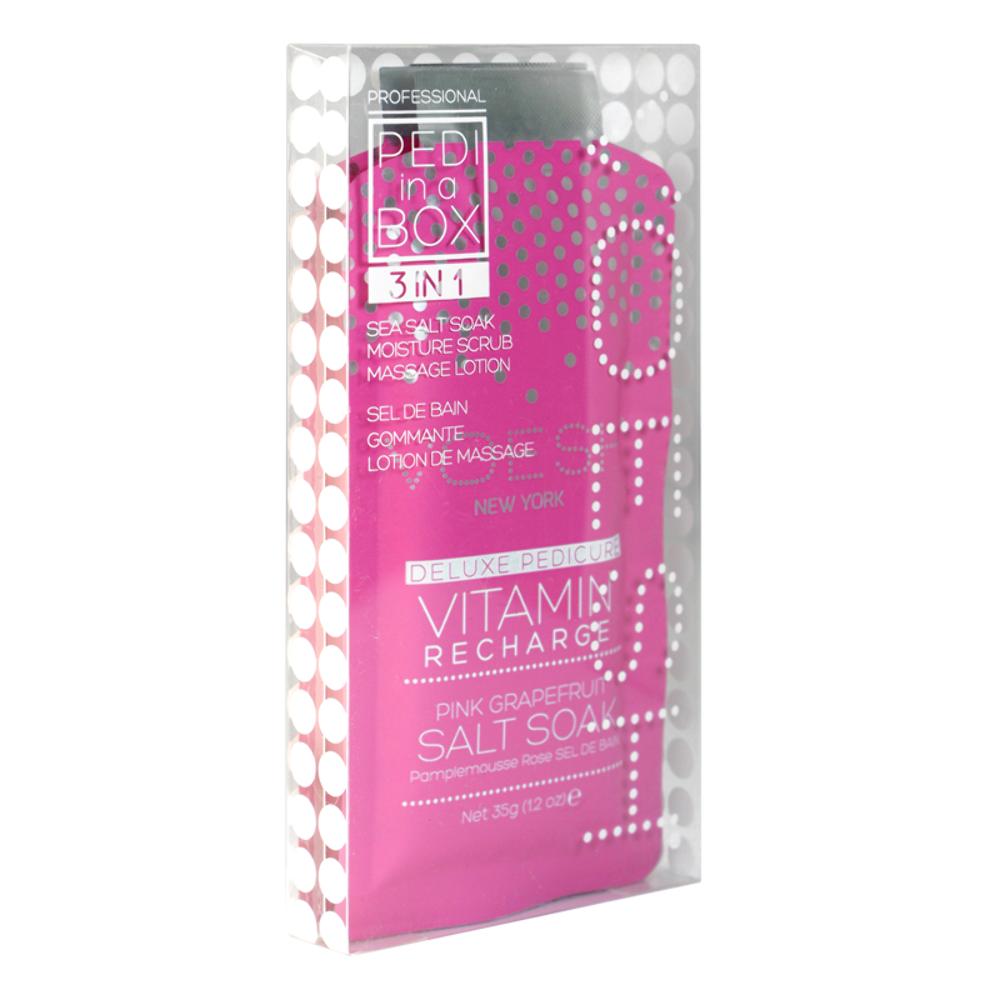 Voesh Pedi In A Box 3 In 1 Deluxe Pedicure Vitamin Recharge Pink Grapefruit