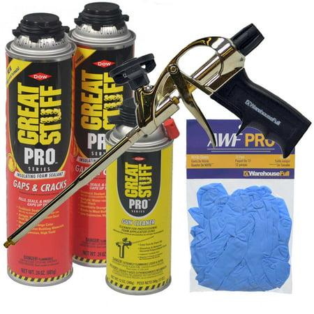 Great Stuff Kit, 2 x 24oz Gaps & Cracks, AWF Professional  Foam Gun, Foam Gun Cleaner & Nitrile (Professional Foam Gun)
