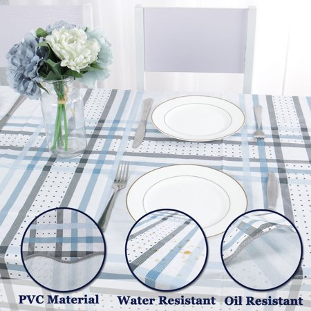 "Tablecloth PVC Vinyl Rectangle Table Cover Oil Stain Resistant 54"" x 71"", #2 - image 2 of 7"
