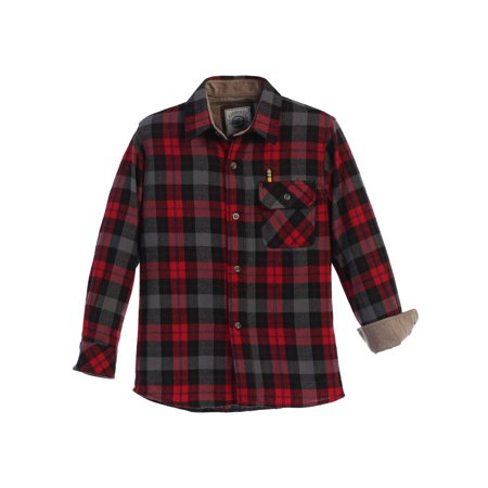 Gioberti Little Boys Black Red Corduroy Contrast Flannel Plaid Shirt 4-7
