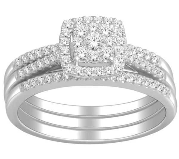1 Carat Trio Wedding Ring Set for Her in White Gold Walmartcom