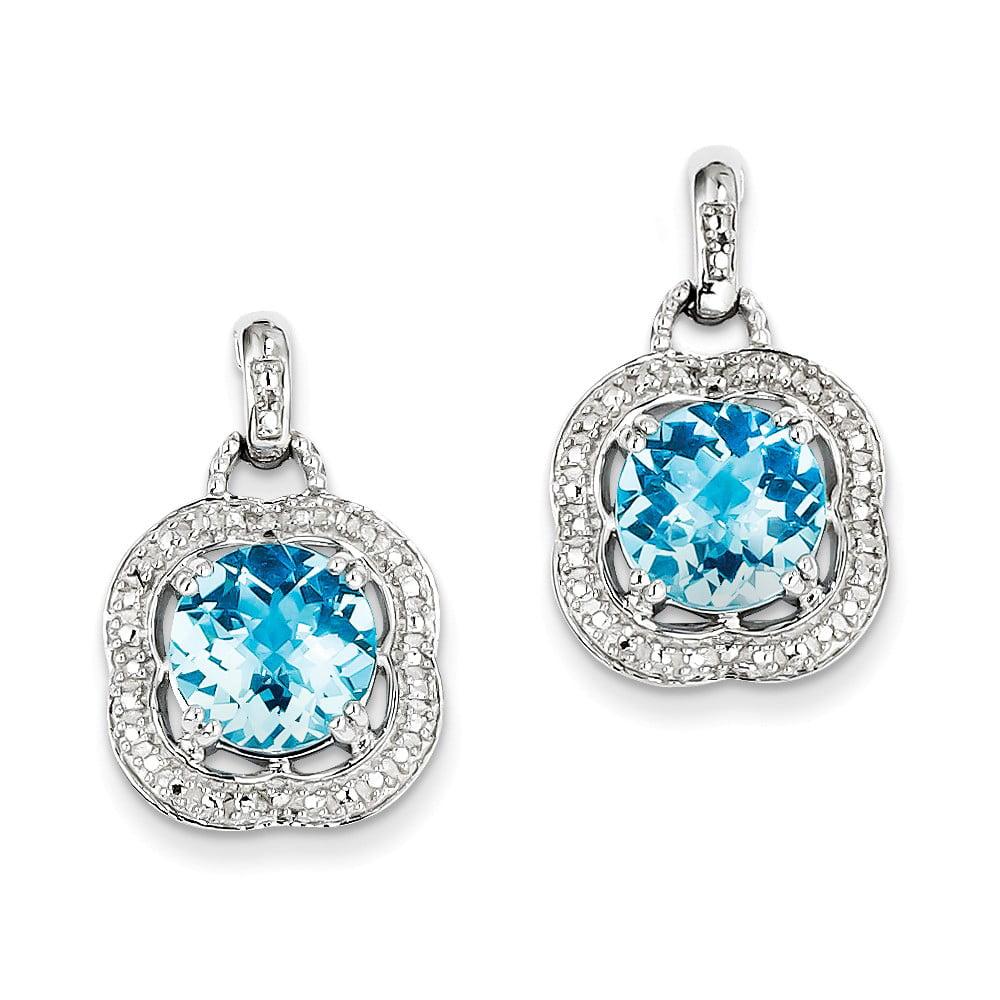 Sterling Silver Blue Topaz Earrings. Gem Wt- 5.81ct (0.8IN x 0.5IN ) by Jewelrypot