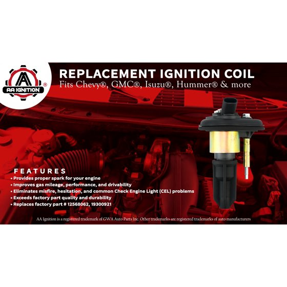 Ignition Coil Pack - Replaces# 12568062, 19300921 - For a Chevy Trailblazer  & GMC Envoy 2002, 2003, 2004, 2005 - Chevrolet Colorado 2004 - 2006, Isuzu
