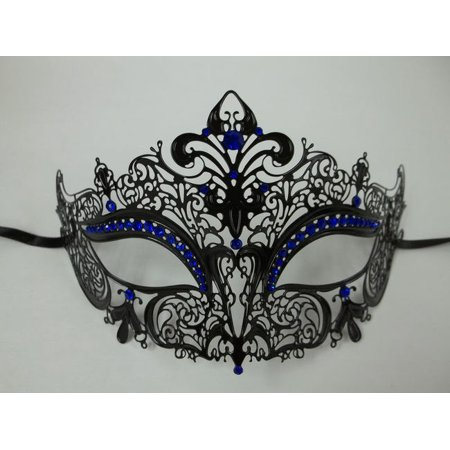 Black Blue Rhinestone Laser Cut Venetian Mask Masquerade Prom Metal - Rhinestone Masquerade Masks