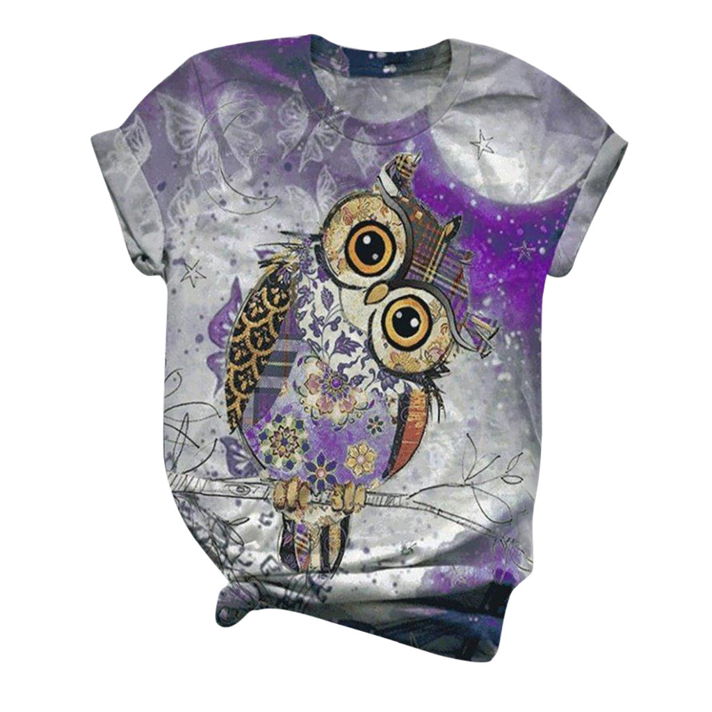 3D Animal Printed T-Shirt for Women Short Sleeve O-Neck Tops Tee Plus Size Blouse