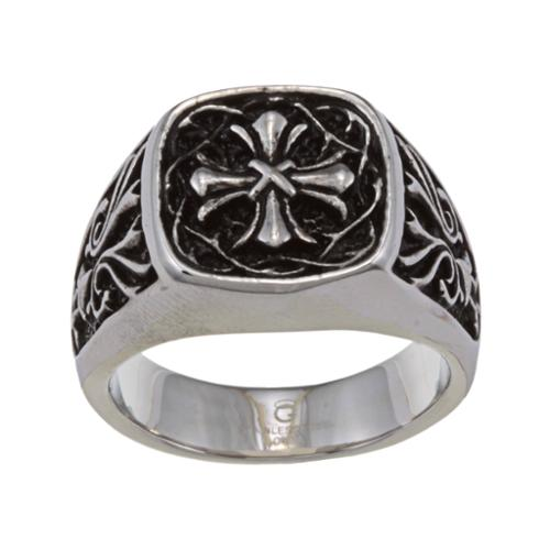 Stainless Steel Men's Cross Ring Size- 9