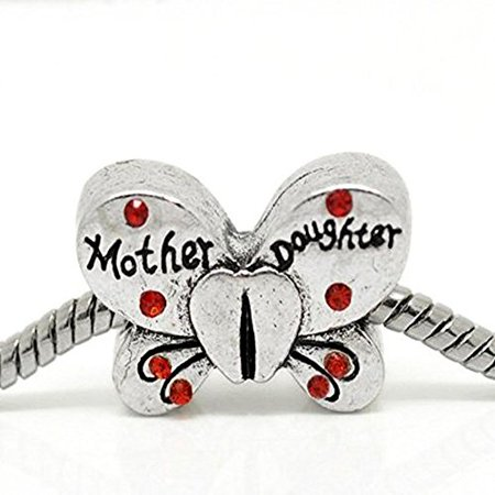 Buckets of Beads Red Rhinestone Mother Daughter Butterfly Charm Beads Fits Most Major Charm Bracelets For Women Girls