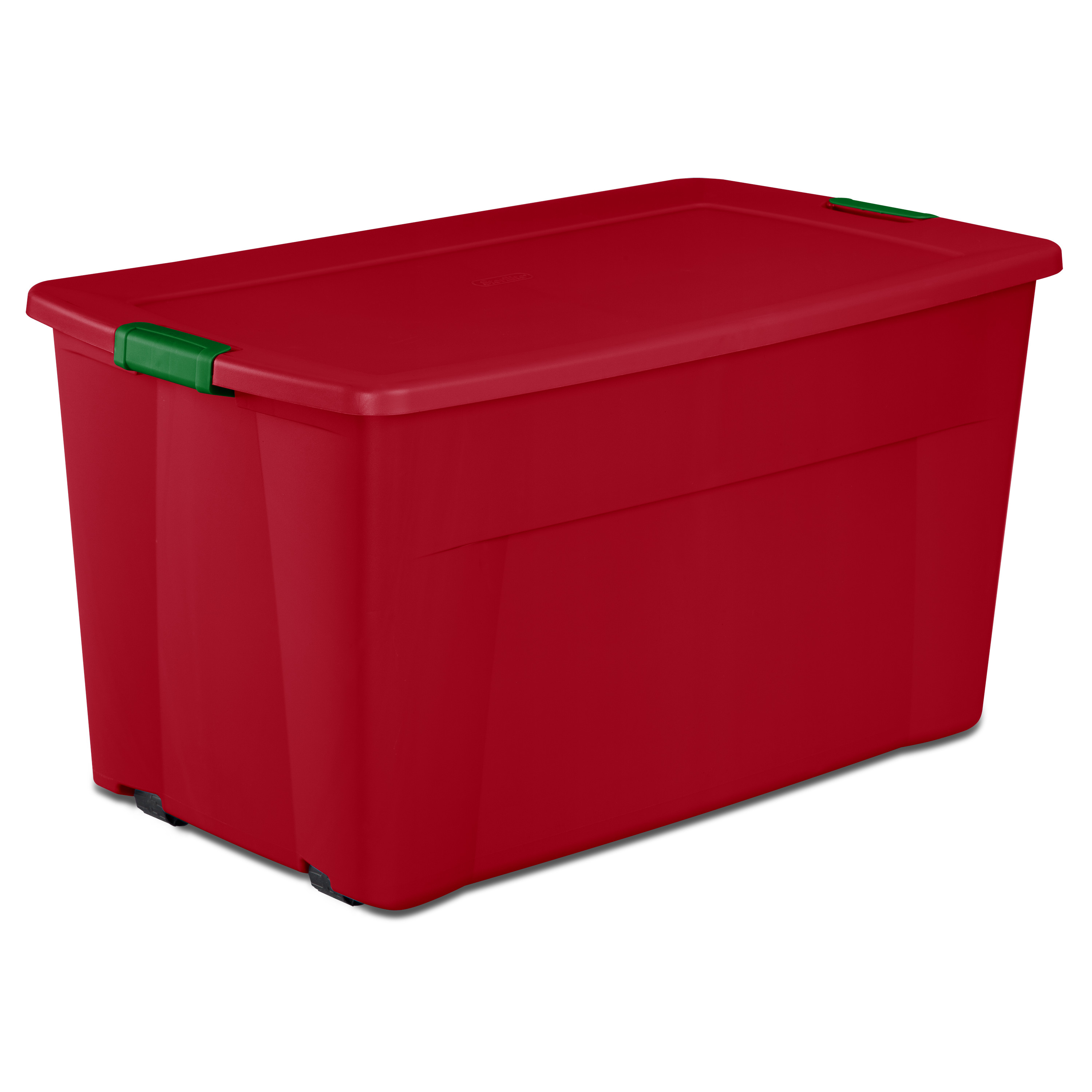 Sterilite, 45 Gal./170 L Wheeled Latch Tote, Red Christmas