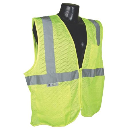 RADWEAR SV2ZGM-XL Economical Safety Vest, XL, Unisex, 28 in Fits to Chest, Polyester, -