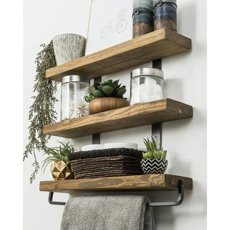 awesome floating bathroom shelves towel | Industrial 3-Tier Floating Shelf with Towel Bar, 24 ...