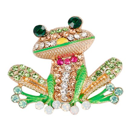 AkoaDa Style Green Rhinestone Frog Brooches Zinc Alloy Cute Animal Pin Garment Accessories For Women Birthday Gifts Diamond Frog Pin