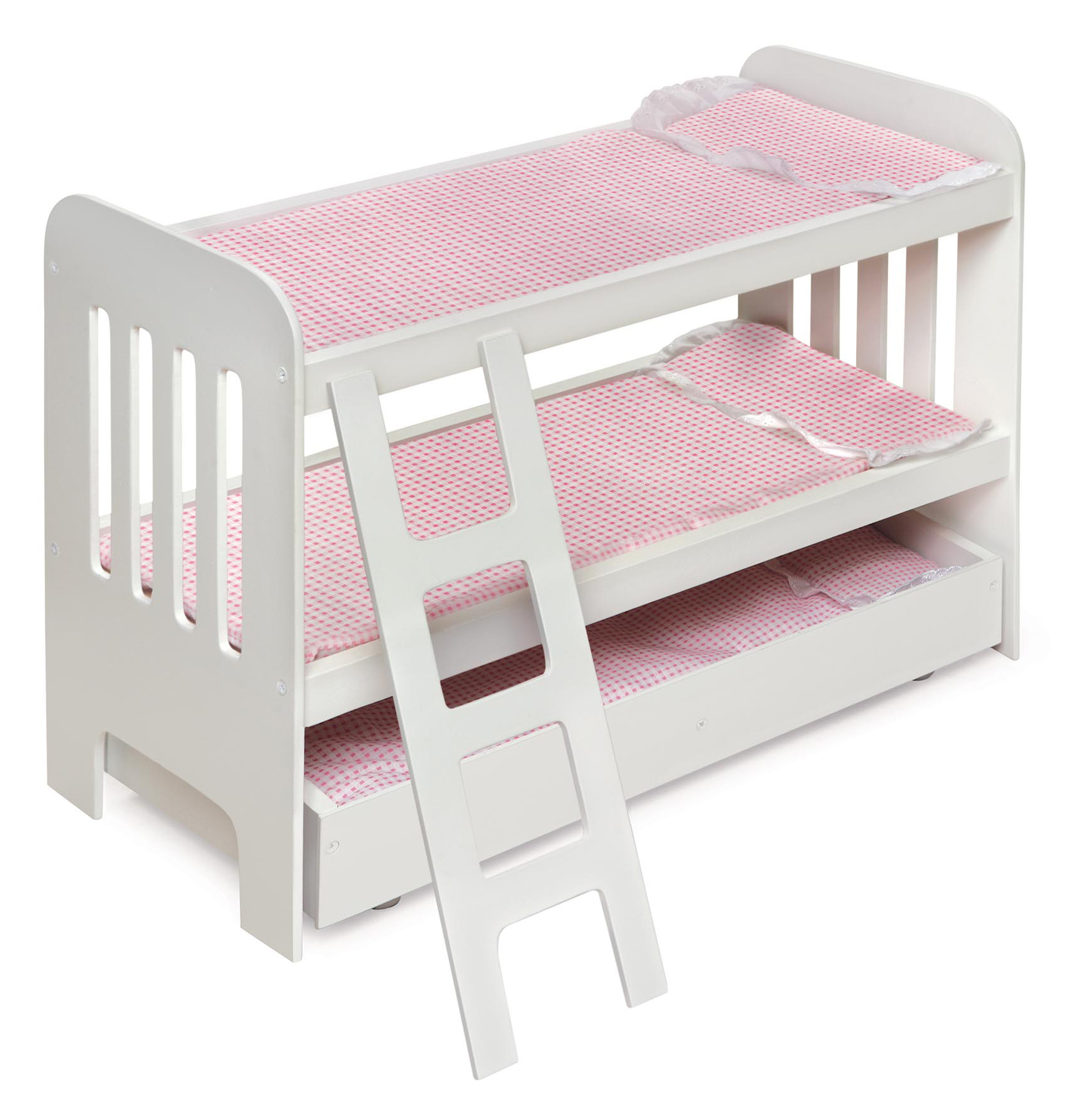 Badger Basket Trundle Doll Bunk Bed with Ladder White Pink Fits American Girl, My Life As... by Badger Basket