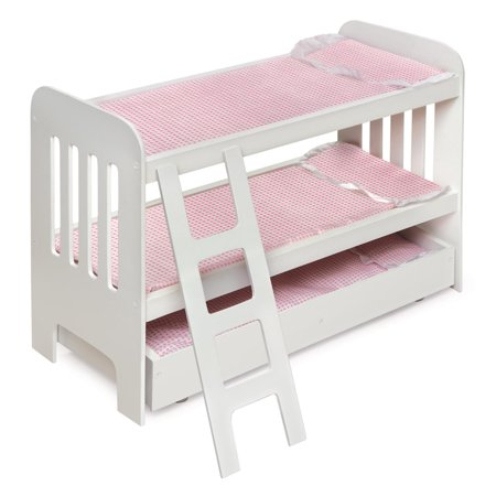 Badger Basket Trundle Doll Bunk Bed With Ladder White Pink Fits