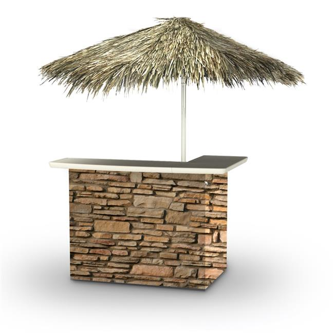 Best of Times 2001W2406P Rock Wall Palapa Portable Bar & 6 ft. Square Palapa Umbrella, Brown