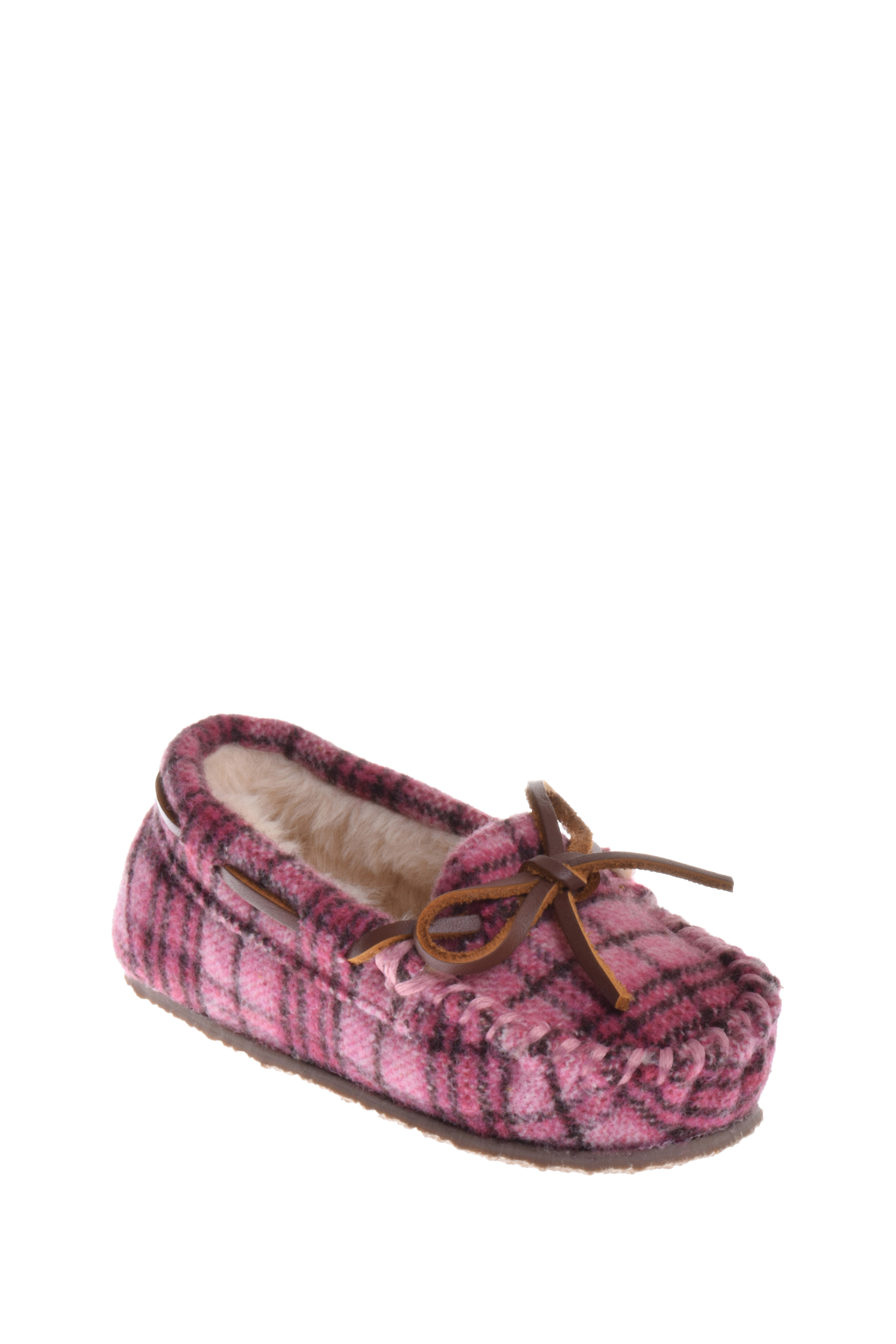 Minnetonka Boys Cassie Pink Plaid Slipper by MINNETONKA