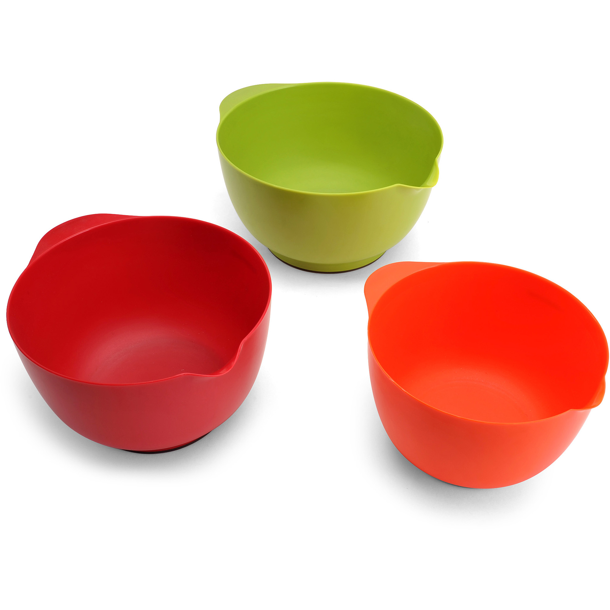 Farberware Set of 3 Mixing Bowls, Red, Green and Orange