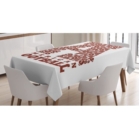 Letter A Tablecloth, First Letter of the Alphabet Shape with American Footballs Athletism Sports, Rectangular Table Cover for Dining Room Kitchen, 52 X 70 Inches, Brown and White, by Ambesonne - Sofia The First Table Cloth
