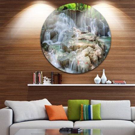 DESIGN ART Designart 'White Huay Mae Kamin Waterfall' Landscape Photo Disc Metal Artwork
