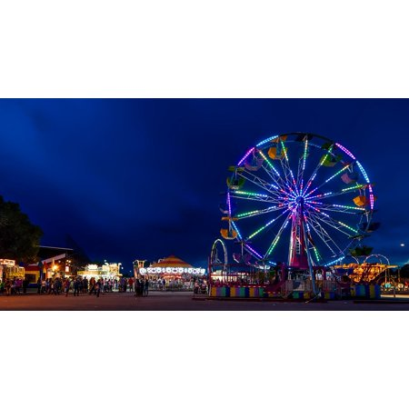 Canvas Print Wyoming Night Ferris Wheel State Fair Rides Stretched Canvas 10 x 14
