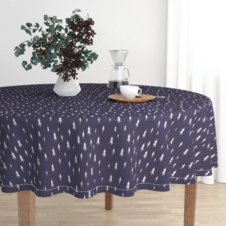 Round Tablecloth Evergreen Trees Forest Pacific Northwest Timber Cotton Sateen ()