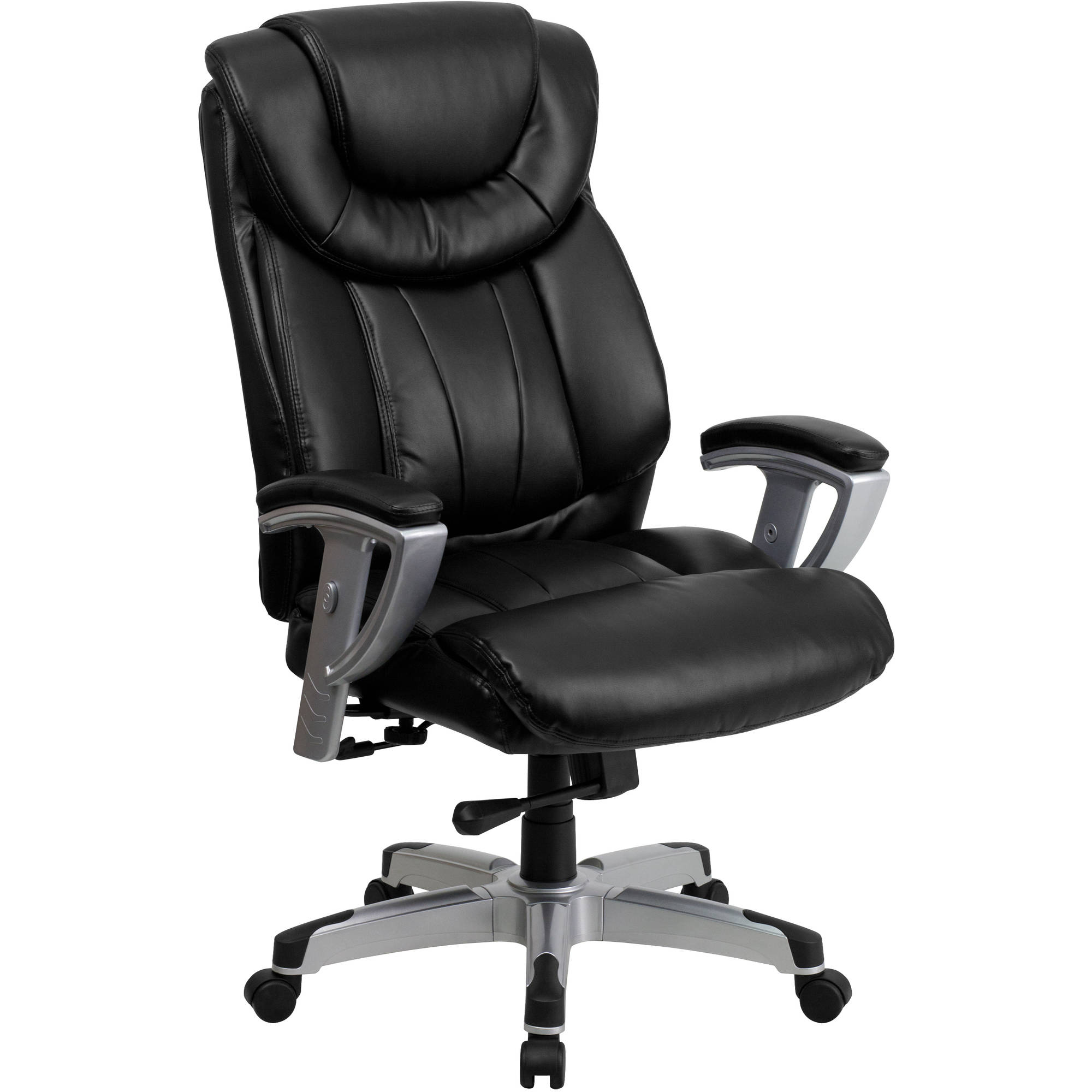 Flash Furniture HERCULES Series 400 lb Capacity Big and Tall Black Leather Executive Swivel Office Chair with Height and Width Adjustable Arms