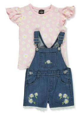 My Destiny Girls' Flower 2-Piece Shortall Set Outfit (Little Girls)