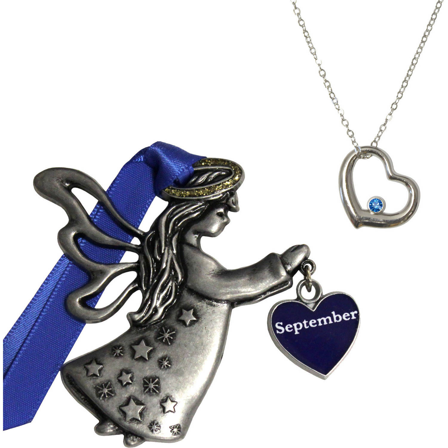 Gloria Duchin September Birthstone Angel Ornament and Necklace Set