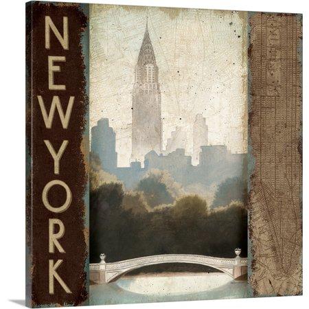 Great BIG Canvas | Marco Fabiano Premium Thick-Wrap Canvas entitled City Skyline New York Vintage - Skyline Square