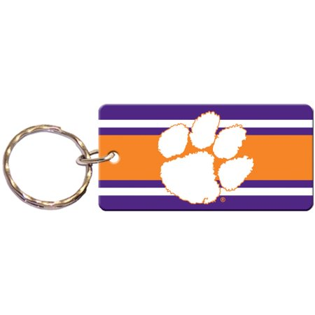 Clemson Tigers Super Stripe Printed Acrylic Team Color Logo Keychain