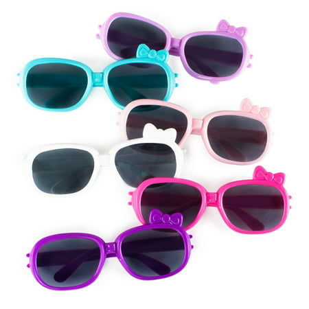 Plastic Color Assorted Round Style Girl Bow Children Sunglasses Shades Eye Wear Toy Party Favors (12 Pairs) by Super Z (Toys Sunglasses)