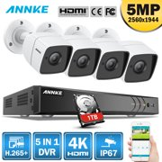 ANNKE 8CH Ultra HD 4K DVR and 4PCS 5MP Camera Security System with 1TB HDD